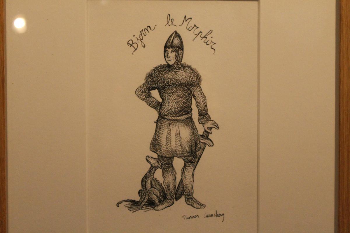 Peinture de chevalier accrochée au mur